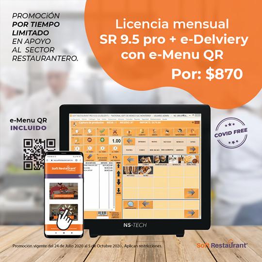 ¡Incluye gratis la mensualidad de e-Delivery web + e-Menu QR!  Lleva el control total de tu restaurante  Vende tus platillos a través de internet desde tu propia plataforma de servicio a domicilio y para pasar a recoger con 0% de comisión Configura tu menú, zonas de reparto, horario de atención, promociones y mucho más con e-Delivery Web Ofrece a tus comensales la posibilidad de ver tu menú y ordenar desde su celular con e-Menu QR